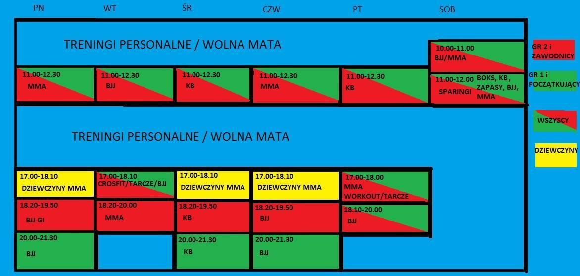Rozpiska treningowa na rok 2014 / 2015 – Zapraszamy